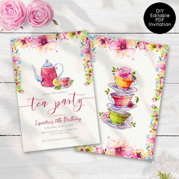 Tea Party Birthday Invitations Floral Girls