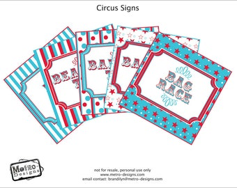 Traditional Teal & Red Carnival Party Signs