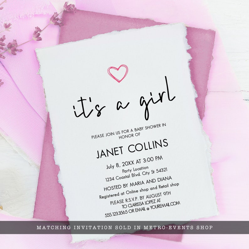 Instant download Custom Welcome Sign Editable Welcome Sign Printable Sign It/'s A Girl Shower decor Pink Heart Baby Shower Welcome Sign