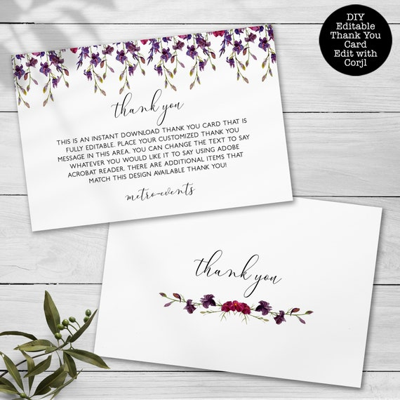Editable Card Lavender Glitter Thank You Cards Corjl Custom Thank You Cards Thank you Cards Thank You Notes Printable Thank You Card
