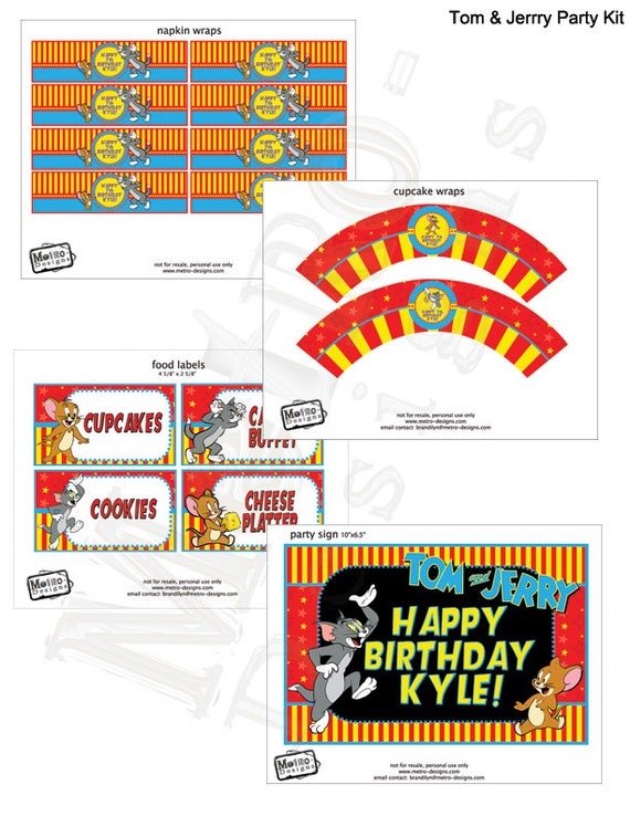Tom And Jerry Party Decorations Birthday Banner Decor Labels
