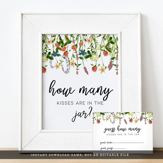 Guess How Many Kisses Game Set Printable Digital File Floral and Gold Glitter Bridal Shower Wedding Games Instant Download