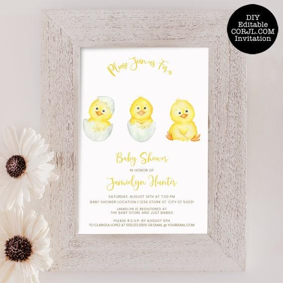 Farm Baby Shower Invite Farm Animal Baby Shower Invitations Baby Chick Baby Shower Invite Editable Baby Chick Invitation Template
