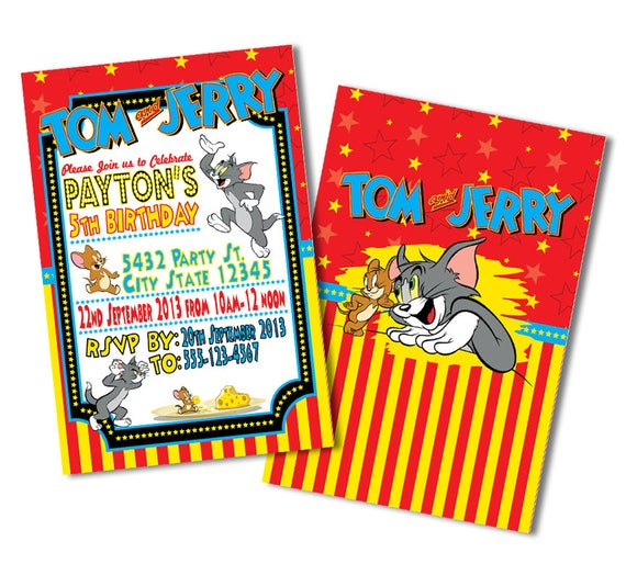Tom And Jerry Invitations Invitation Birthday