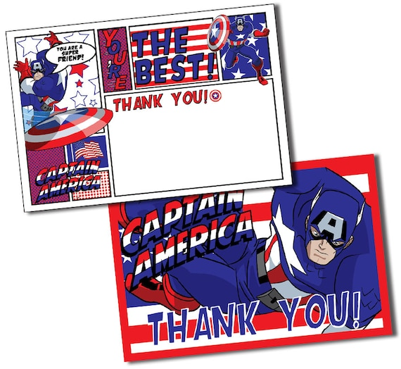 Captain America Thank You Cards Captain America Thank You Etsy