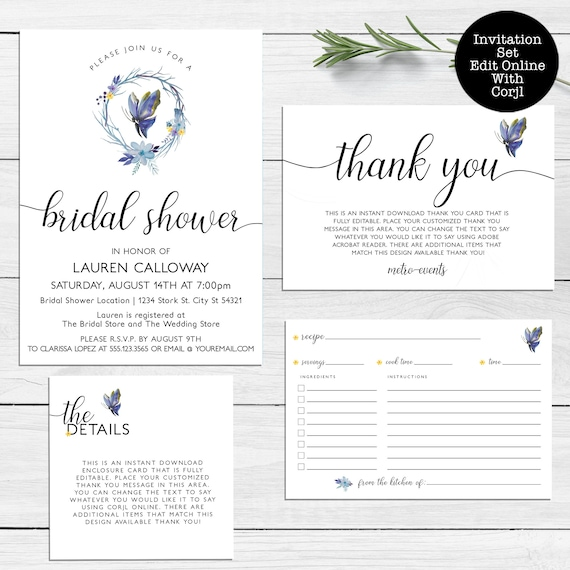 Butterfly Bridal Shower Invitations Set Invitation Thank You Card Enclosure Card Recipe Card Printable Invitation Kit Butterfly Invite By Metro Events Party Supplies Catch My Party