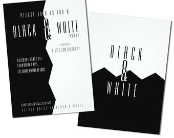 Stylish, Black and White Party Invitations, Adult Party Invitations