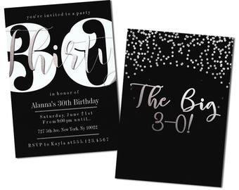 Modern 30th Birthday Invitations