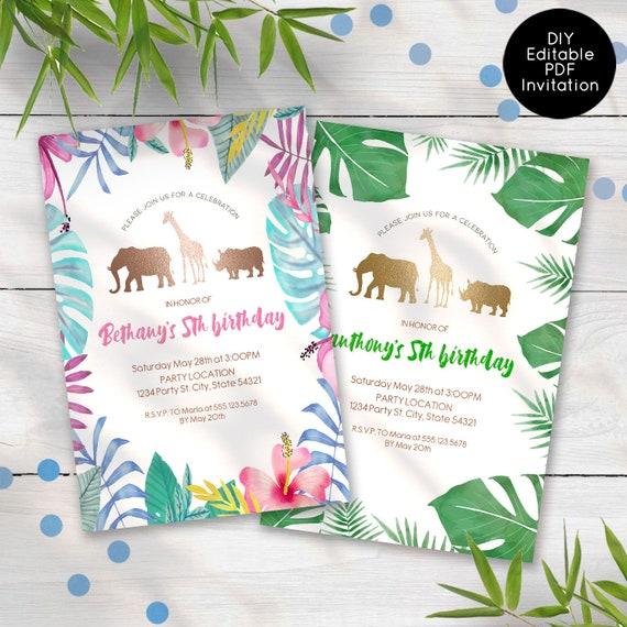 Safari Jungle Birthday Invitation Editable Jungle Invitations