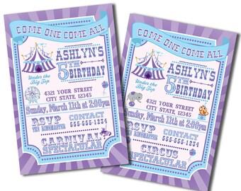 Pretty Purple & Blue Carnival and Circus Party Invitations