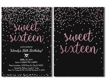 Glitter Pink & Silver Sweet 16 Birthday Invitation