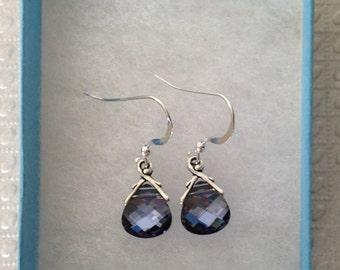 Swarovski Crystal Denim Blue Briolette Earrings, sterling silver, denim blue, dark blue shade, blue crystal earrings, crystal drop earrings