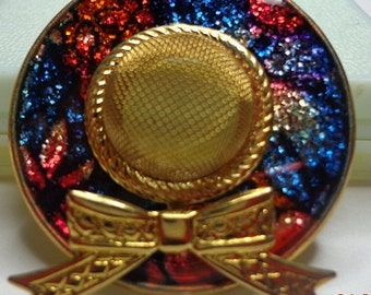 Vintage Hat Brooch-Pin--Multi-Color Sparkly with Gold--Free Shipping in U.S.