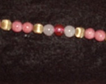 Bracelet--Mauvy Pink Cloisanne, Milky White and Gold--Free Shipping in U.S.
