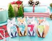 Printable Winter Fox Gift Boxes, DIY Christmas Party Favor, Children's Stocking Stuffer