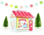 Printable Hot Chocolate Hut Gift Box, Christmas Gift Box, DIY Gift Wrap, Paper Shop, Christmas Printables