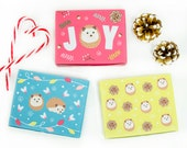 Printable Hedgehog Christmas Cookie Boxes, Set of 3 DIY Christmas gift boxes with matching gift tags