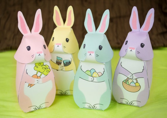 Diy printable easter bunny gift boxes easter party favor negle Image collections