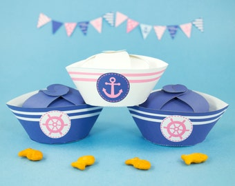 Nautical Party Favor Boxes DIY, Printable Girl's Navy Blue and Pink Sailor Hat Favor Box,Girl's Baby Shower Favors, INSTANT DOWNLOAD