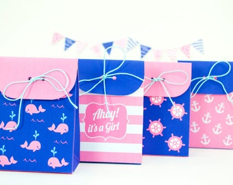 Nautical Girl's Baby Shower Favor Bags, Printable PDF Gift Bags, Pink and Navy Blue Nautical Treat Bags, INSTANT DOWNLOAD