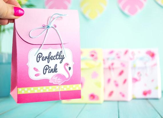 image about Printable Gift Bags called Printable Flamingo Social gathering Reward Luggage, Flamingo and Hands Choose