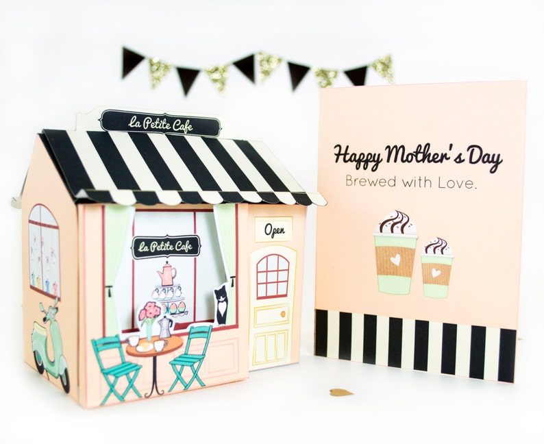Mother S Day Printable Cafe Gift Box Set Diy Gift Box And Mother S Day Card