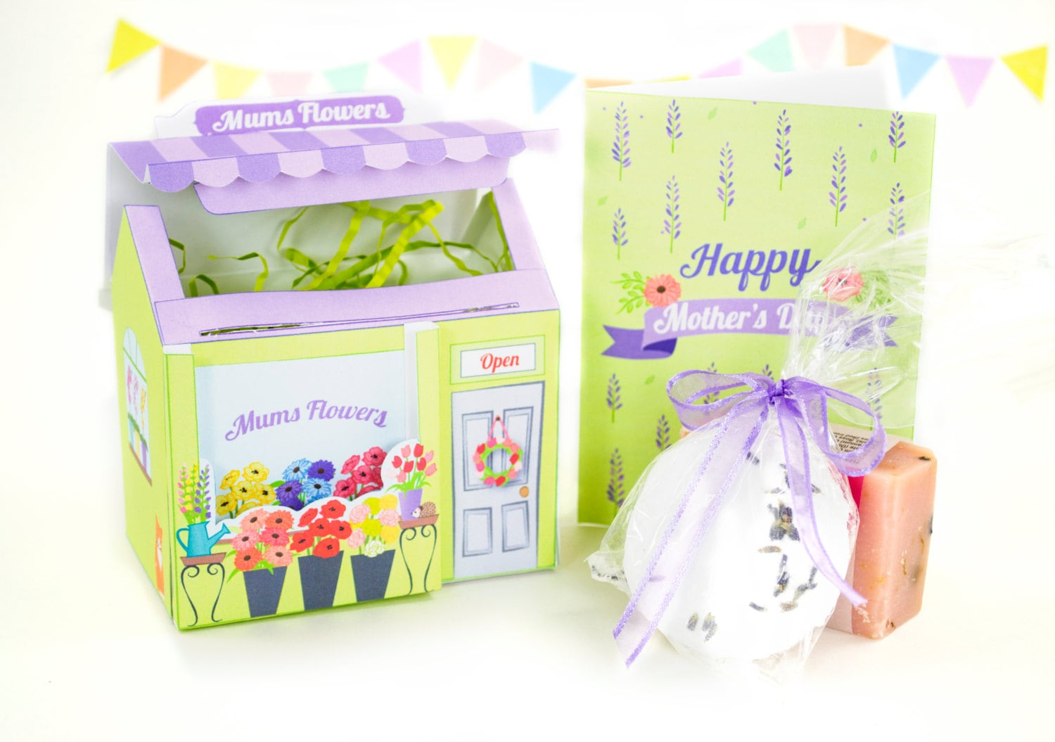 Diy Mother S Day Card And Gift Box Set Printable Mother S Day Card Gift For Her Flower Shop Gift Box Diy Floral Giftwrap