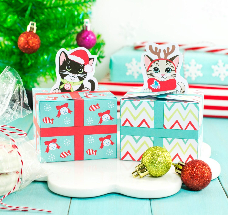 Printable Christmas Kitty Cat Gift Boxes DIY Christmas