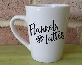 Flannels And Lattes Coffee Mug | Flannel And Lattes Coffee Cup | Fall Coffee Mug | Fall Coffee Cup | Coffee Mug | Custom Coffee Cup
