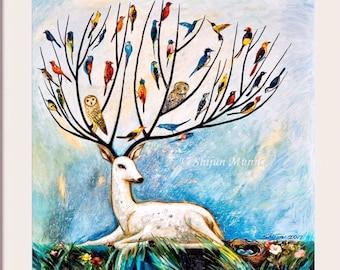 Tree of life-joy of tree-deer tree-gift-Fantasy wall art-Oil painting print-birds in tree-colorful birds-deer-fawn-nature