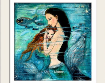 """Mermaid Art,""""MERMAID MOTHER & CHILD"""", Fairytale Fantasy Wall Art, giclee print on canvas or paper by Shijun Munns, Signed"""