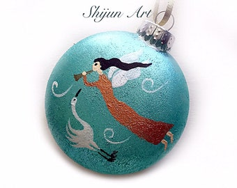 Angel Christmas Ornament,Blue Flat Hand painted glass ornament-christmas gift-Angel art-holiday hand painted gifts