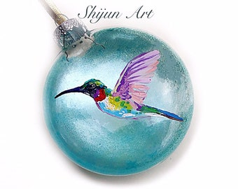 Christmas Hummingbird ornament:Blue Flat Hand painted glass ornament-Christmas gift-Holiday gifts for hummingbird Lovers