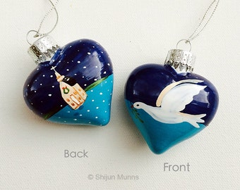 Church with Dove ormament:hand-painted Blue Glass heart shaped Christmas Ornament,,merry Christmas/Gifts for dove Lovers
