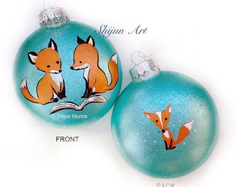 Red fox Christmas Ornament, Blue Flat Hand painted glass ornament-christmas gift-nature art-holiday hand painted gifts