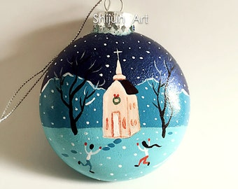 Church Ornament,Blue Flat Hand painted glass ornament-christmas gift-winter art-Holiday Christmas Ornament-ice-skating Ornament