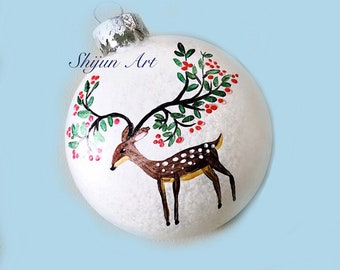 Holiday Tree Deer Christmas Ornament, White Flat Hand painted glass ornament-christmas gift-nature art-holiday hand painted gifts