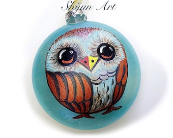Christmas Barred Owl ornament:Blue Flat Hand painted glass ornament-Christmas gift-Holiday gifts for owl Lovers