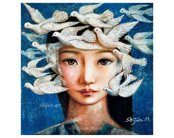 Art original,Peace,girl with doves,original oil on linen by Shijun Munns-Art gift-Fantasy wall art-origianl oil painting