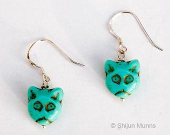 Cat Earrings - Blue Glass Cat Earrings - retro handmade Cat Earrings