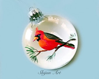Christmas Bird ornament:Red Cardinal Flat Hand painted glass ornament-Christmas gift-Holiday gifts for bird Lovers