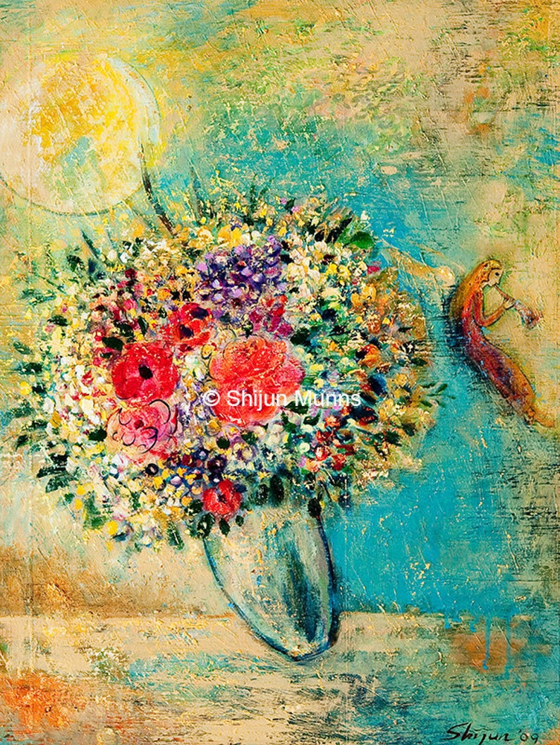 Fine Art Card Birthday Angel With Flowers And