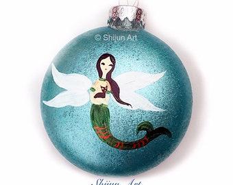 Mermaid Christmas Ornament by Shijun-Blue Flat Hand painted glass ornament-christmas gift-Angel Mermaid-mermaid lover gift-little mermaid