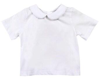 7aee875535b9f White Knit Cotton Peter Pan Collar Shirt