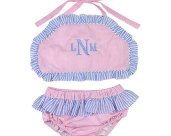 76018581fa0b6 Girl Pink Gingham and Seersucker two piece Swimsuit, Girl two piece swim,  Girl gingham swim, girl gingham suit, monogrammed swim suit