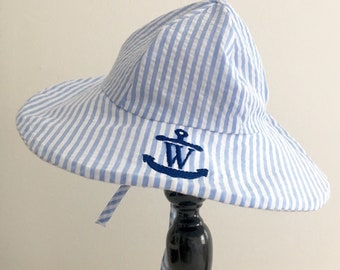 2f44d54a838 Light Blue Seersucker Sun Hat
