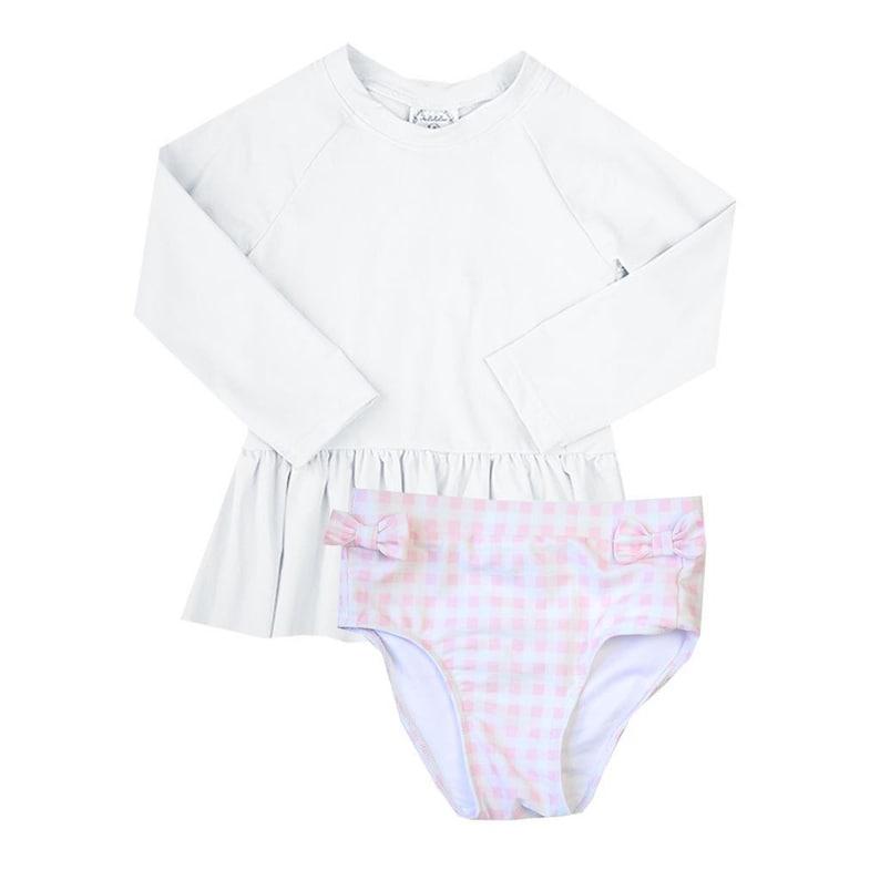 Little Girl Swim Shirt GIRL Rash guard Swim Top pink rash guard shirt White Swim Rash guard Shirt Pink Swim Rash guard Shirt