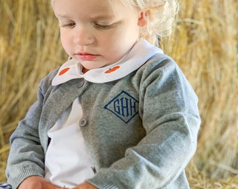 Child Grey cardigan sweater, kid grey cotton cardigan, Child monogrammed cardigan sweater, boy monogrammed sweater, girl monogram cardigan