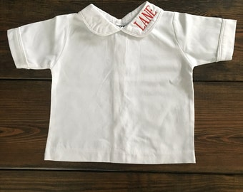 Boys White Piped Cotton Short Sleeve Shirt