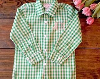 Catalina Green Gingham Button Down Shirt